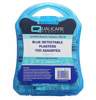 100 Box Assorted Blue Metal Detectable Catering Kitchen Washproof Plaster (PL08)