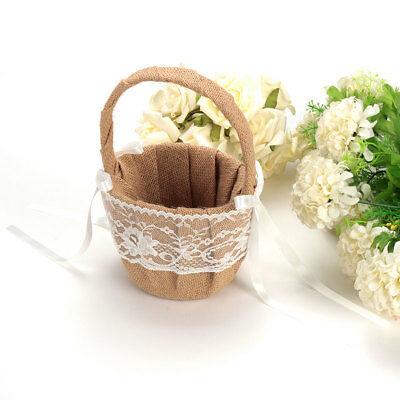 Vintage Rustic Hessian Burlap Lace Bow Flower Girl Basket Wedding Party Ceremony