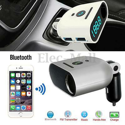 Dual LED USB Bluetooth Auto FM Transmitter Musik Player Handsfree Charger Adapte