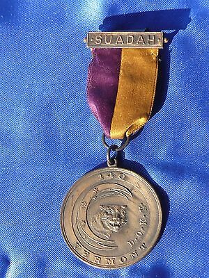 RARE Vermont Medal + Ribbon DRAMATIC ORDER KNIGHTS KHORASSAN Knights of Pythias