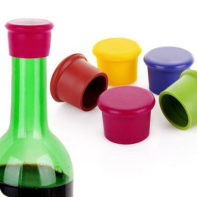 5PC Assorted Colors Reusable Silicone Wine Bottle Caps/Beer Sealer Cover Capsule