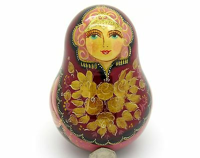 Russian wobbly DOLL Roly Poly Red Babushka in Kokoshnik hand painted signed GIFT