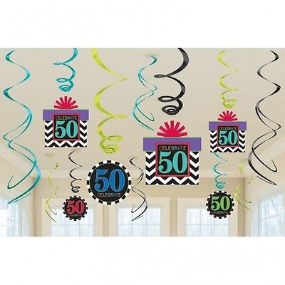 Aged 50Th Celebrate Happy Birthday Party Swirls Hanging Decoration Pack Of 12