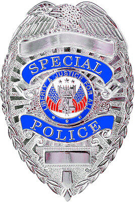 Silver Special Police Liberty & Justice For All Shield Police Badge