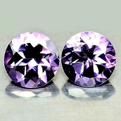 NATURAL AWESOME PURPLE  AMETHYST LOOSE GEMSTONES (PAIR) ROUND-CUT (6.0 x 6.1 mm)