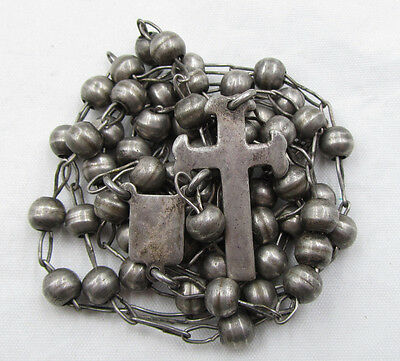 """† Scarce Heavy Vintage Sterling From Mexico Rosary Rosario 34 1/2"""" Necklace †"""