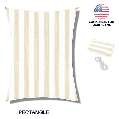 Custom Size Beige Rectangle Sun Shade Sail Fabric Awning Cover Canopy 8' to 24'