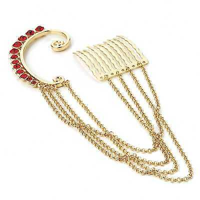 Earring-GOLD-RED crystal cuff-3 cm hair comb-chain-Gothic punk-fancy dress