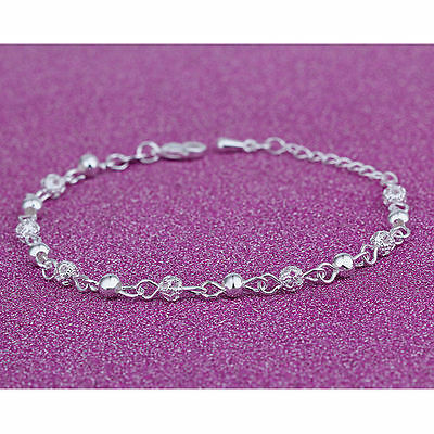 Ladies Girls Silver Plated Crystal Beaded Anklet Ankle Bracelet Chain