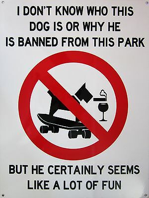 Dog Banned Park Metal Sign