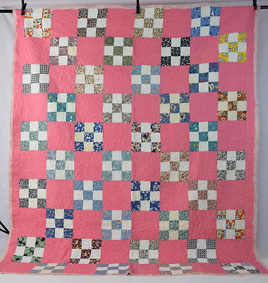 Antique Pink Floral Feedsack Nine Patch Checkered Patchwork Quilt Top Fabric 88""