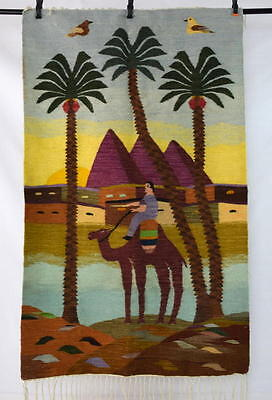 Vtg Hand Woven Wool Double Side Camel Pictorial Mid East Rug Tapestry Wall Art