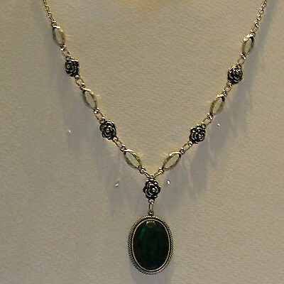Victorian Style Deep Green Acrylic Crystal Dark Silver Plated Rose Necklace Rs