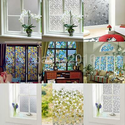 Bathroom Door Window Privacy Static Cling Frosted Glass Film Stickers 10 Styles