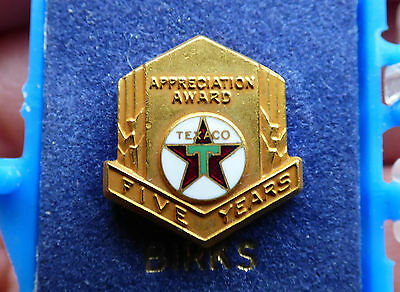 Vtg Canadian TEXACO gas & oil 5 years appreciation service pin Birks FREE SHIP!