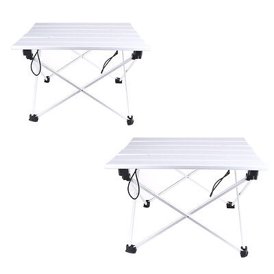 Roll Up Portable Folding Outdoor Camping Aluminum Picnic Table Lightweight w/Bag