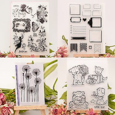 Butterfly Girls Transparent Rubber Clear Stamp Cling Seal Scrapbooking DIY Craft