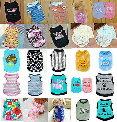 Dog Pet Clothes Summer Vest Puppy Small Cat T-Shirt Dress Coat Apparel Costumes