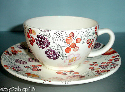 Gien Le Temps Des Cerises Tea Cup and Saucer French Faience New!