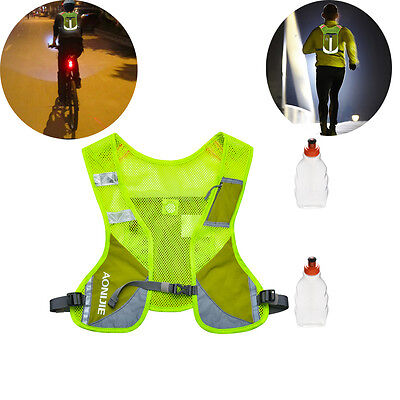 Reflective Strip Running Cycling Hydration Backpack Vest +2 Free Water Bottle