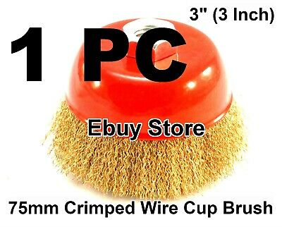 "3"" x 5/8"" Threaded Arbor Crimped Wire Wheel Brush Cup For Angle Grinders"