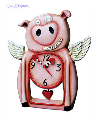 "Sweet Pink ""This Little Pig"" Designer Wall or Stand Clock by Allen Designs"