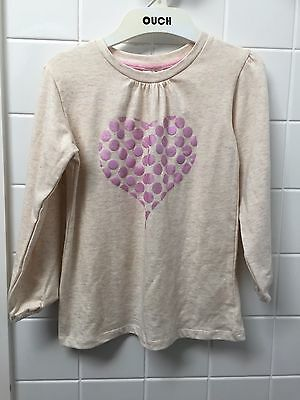 Milky Size 4 Cream Pink Heart Print Long Tee Top New BNWT Winter Girls Casual