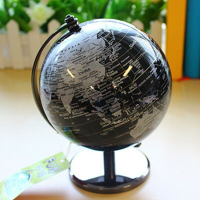 Rotating World Map Globe Table Desktop Decorative Geographical Earth Globe Black