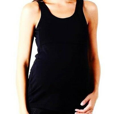 NEW Ripe Maternity Active Scoop Neck Tee Top Black sz 10 12 14 stretch lycra