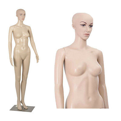 Full Body Female Mannequin w/ Iron Base Plastic Realistic Display Head Turns