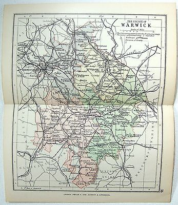 Original Philips 1891 Map of The County of Warwick, England