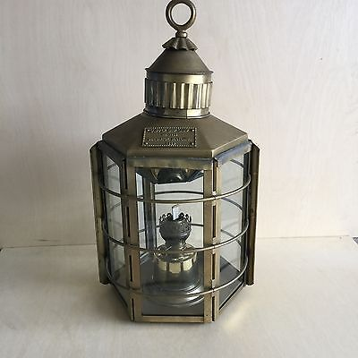 Maritime - Clipper Ship Brass Lantern/Lamp - approx 63cm x 33cm. VGC.