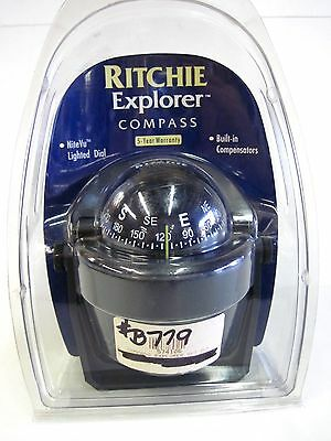 New Ritchie Explorer Marine Black Compass Lighted Dial Boat Compass #B779