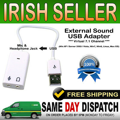 New USB To 3.5m Jack Virtual 7.1 External Sound Card Adapter Audio Mic PC Laptop