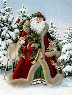 10 Boxed Christmas Cards Santa White-tailed Deer Doe Saint Nick Nicholas Tail
