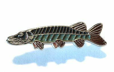 Pike Freshwater Game Fish Angling Fisherman Pin Angler Metal Enamel Badge NEW
