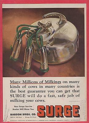 1950 Surge Cow Milker Mag Ad-- AS IS  CONDITION--Babson Bros. Farm Dairy Related