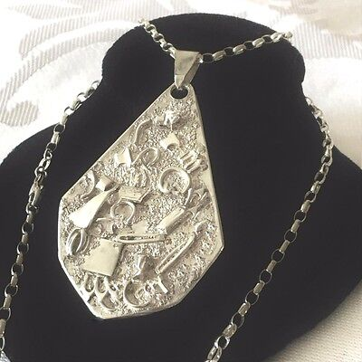 Vintage STERLING SILVER Abstract Handmade Unusual Modernist LARGE Necklace 14.9g