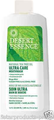 New Desert Essence Ultra Care Mouthwash Refreshing Oral Dental Healthy No Sugar