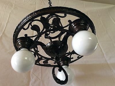 Antique Hi Glo Chandelier Early Colonial Hammered Metal Design 3 Light 1930s.