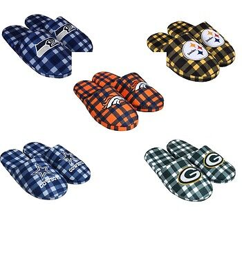 NFL Football Team Logo Mens Flannel slippers House Shoes - Pick Your Team!