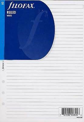 Filofax A5 Size White Ruled (Lined) Notepaper Refill Organiser Insert 343008