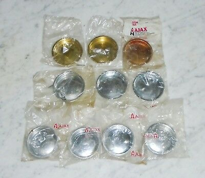 10 Vintage Ajax Round Flush Mount Cabinet Door Drawer Pulls ~ Gold Chrome Copper