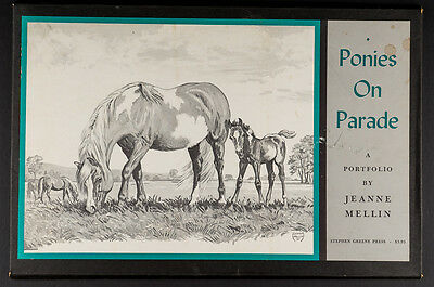 Ponies on Parade A Portfolio by Jeanne Mellin 12 B&W Sketch Prints Art 1965