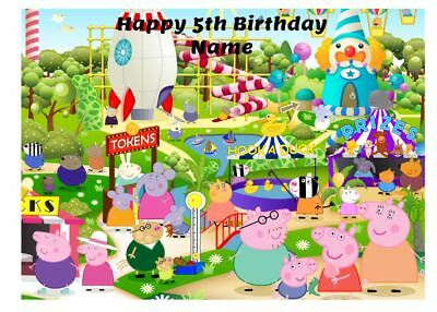 Peppa Pig Edible Icing Images Birthday Cake Toppers 2 Sizes A4 & 19Cm