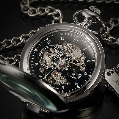 KS Half Hunter Black Men's Skeleton Mechanical Key Style Pendant Pocket Watch