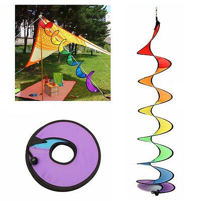 Foldable Rainbow Spiral Windmill Wind Spinner Camping Tent Home Garden Decor Hot