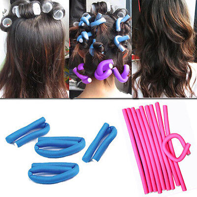 10pcs/Pack Professional Spiral Hair Roller Foam Curler Set Twist Curls Flex Rods