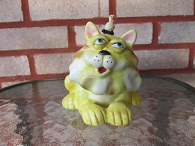 Yellow Douglas Ceramic Candle Holder, Silly Cat with Little Bird on Head 6.5''