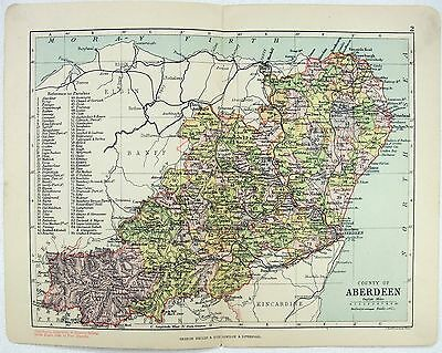 Original Philips 1891 Map of The County of Aberdeen Scotland by J. Bartholomew
